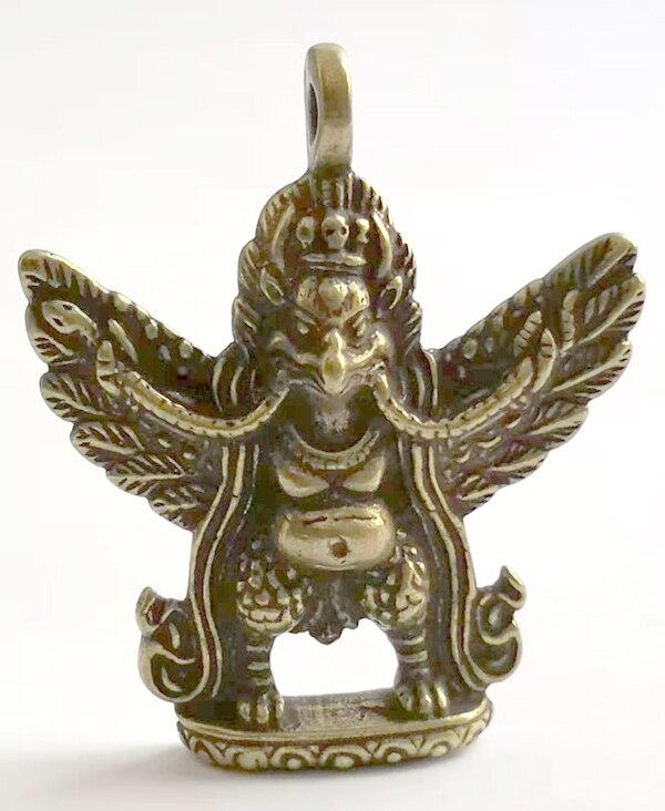 (mini) Delicate Tibetischen Buddhismus Alte-stil Messing Geschnitzt Auspicious Garuda Statue Anhänger