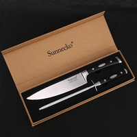 SUNNECKO Premium 8.5'' Chef Knife German 1.4116 Steel Blade 8'' Sharpener ABS Handle Sharp Meat Vegetable Cutting Kitchen Knives