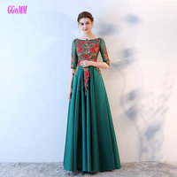 Gorgeous Green Long Evening Dresses 2018 Sexy Evening Gowns Scoop Tulle Appliques Lace Up Satin Party