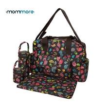Mommore 5 개/대 bolsa maternidade 아기 기저귀 가방 아기 기저귀 가방 엄마 출산 가방 레이디 핸드백 메신저 가방