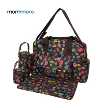 mommore 5pcs/set Nappy Bags Includes Diaper Bag Changing Pad Transparen Mummy Maternity Waterproof Baby Stroller