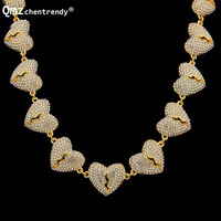 News Arrival Mens damaged Heart Chain Necklace Bling Iced Out With Luxury Rhinestone Heart Link Necklace Drop Shipping