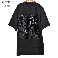 [GUTU] 2018 Spring Summer New Pattern Sequins Strings Stitching T-shirt Loose O-neck Short Sleeve Lasides Fashion Tops T36701