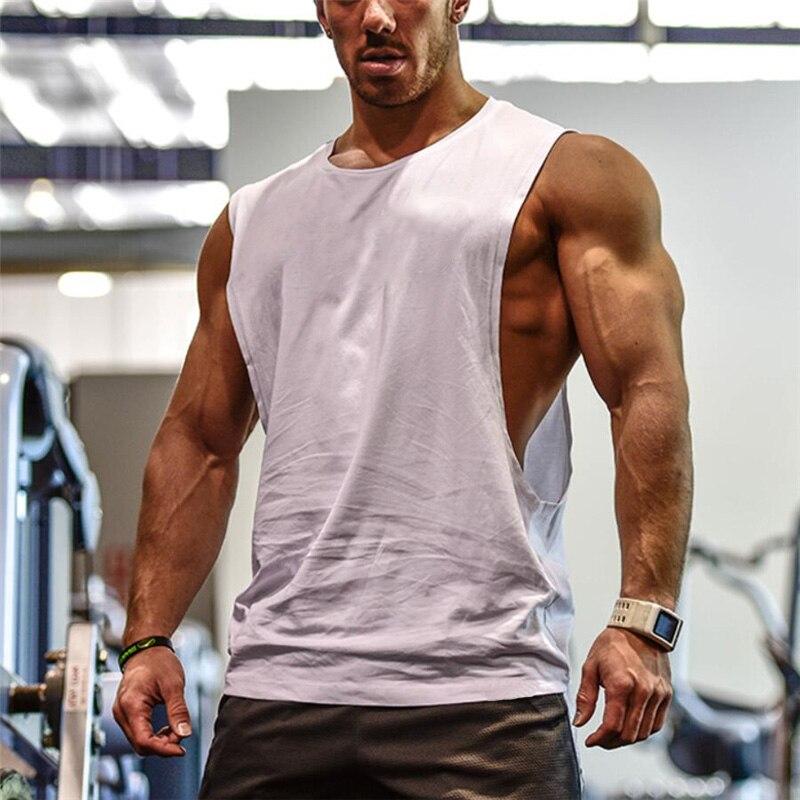 Hommes de Cut Out Manches chemise Gymnases Stringer gilet Blanc T-Shirt D'entraînement Musculaire Tee Bodybuilding Débardeur Fitness Vêtements