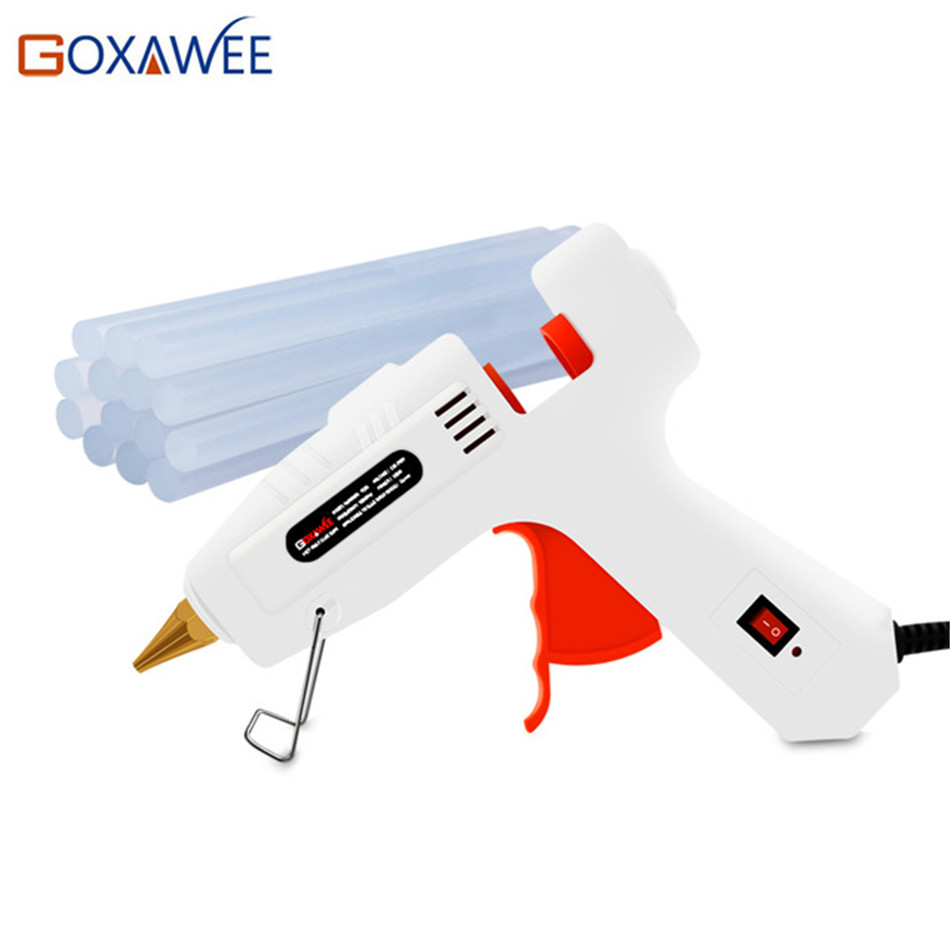 Goxawee Electric Hot Melt Glue Gun 20W 80W 105W With 10pcs Glue Sticks Heat Temperature Guns Thermo Gluegun Repair DIY Tools