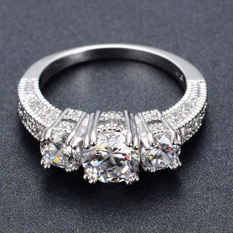 Silver Crystal Ring Female Anelli Bijoux Anillos Wedding Engagement Rings For Women Anel Jewelry