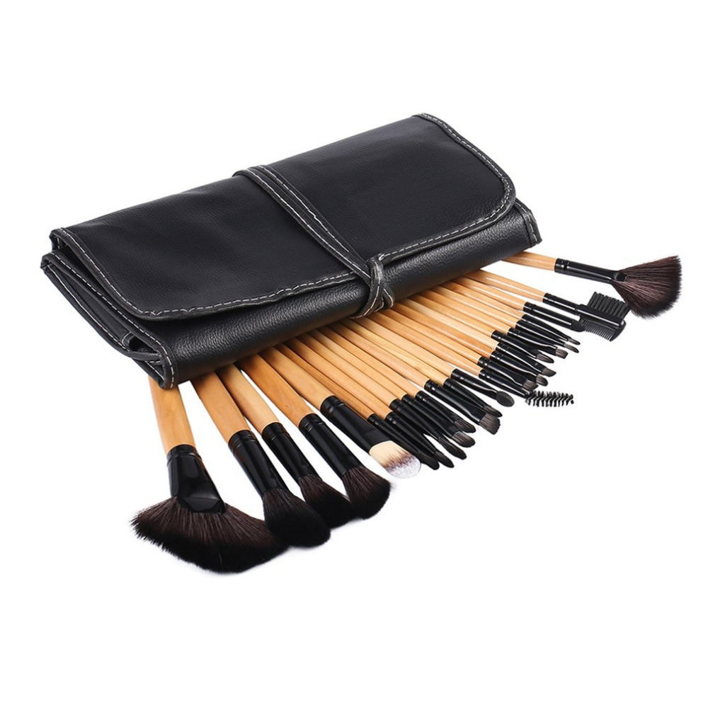 24PCS/SET Professional Makeup Brushes Eyeshadow Powder Brush Set Cosmetic Makeup Brushes Tool With Leather Case new 4 pcs golden professional makeup brushes waistline sculpting brush set cosmetic tool maquiagem accessories with original box