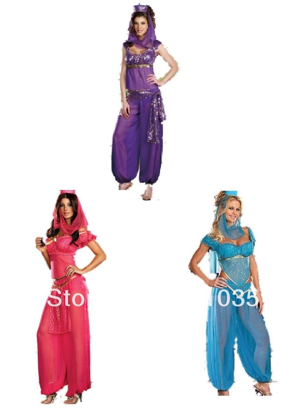 Free Shipping S-2XL Ladies Princess Jasmine Belly Dancer Aladdin Arabian Sexy Fancy Dress Costume Принцесса Жасмин
