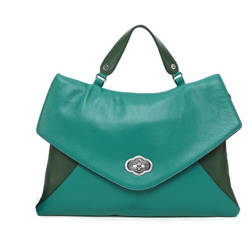 Contraste de color de moda 100% cuero granulado genuino Bolso de - Bolsos - foto 3