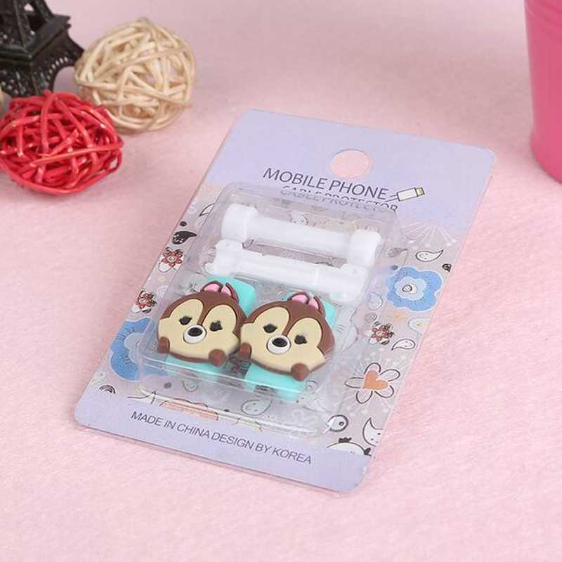 2pcs/lot Cartoon Cable Protector Data Line Cord Protector Protective Case Cable Winder Cover For iPhone USB Charging Cable
