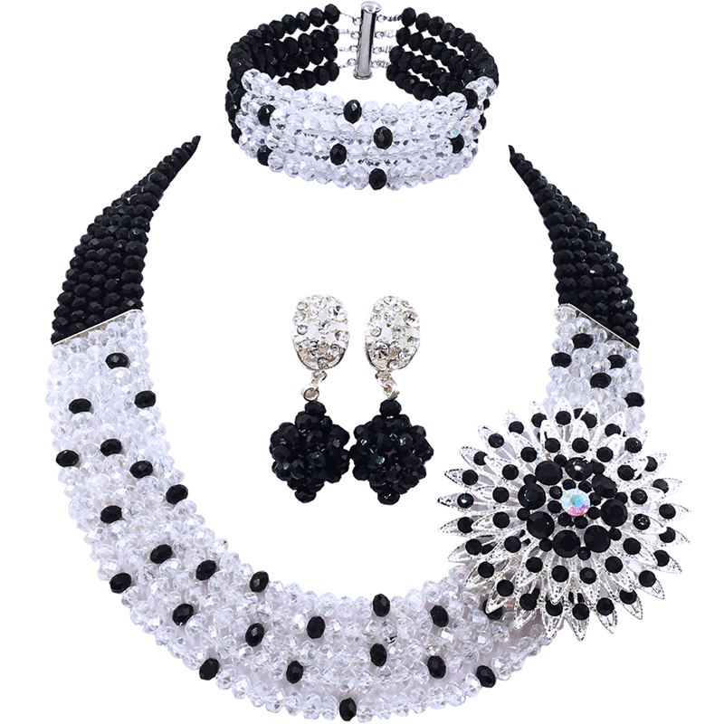 Hot Sale Black Transparent African Crystal Beads Bridal Jewelry Sets for Women 5C-SZ-08