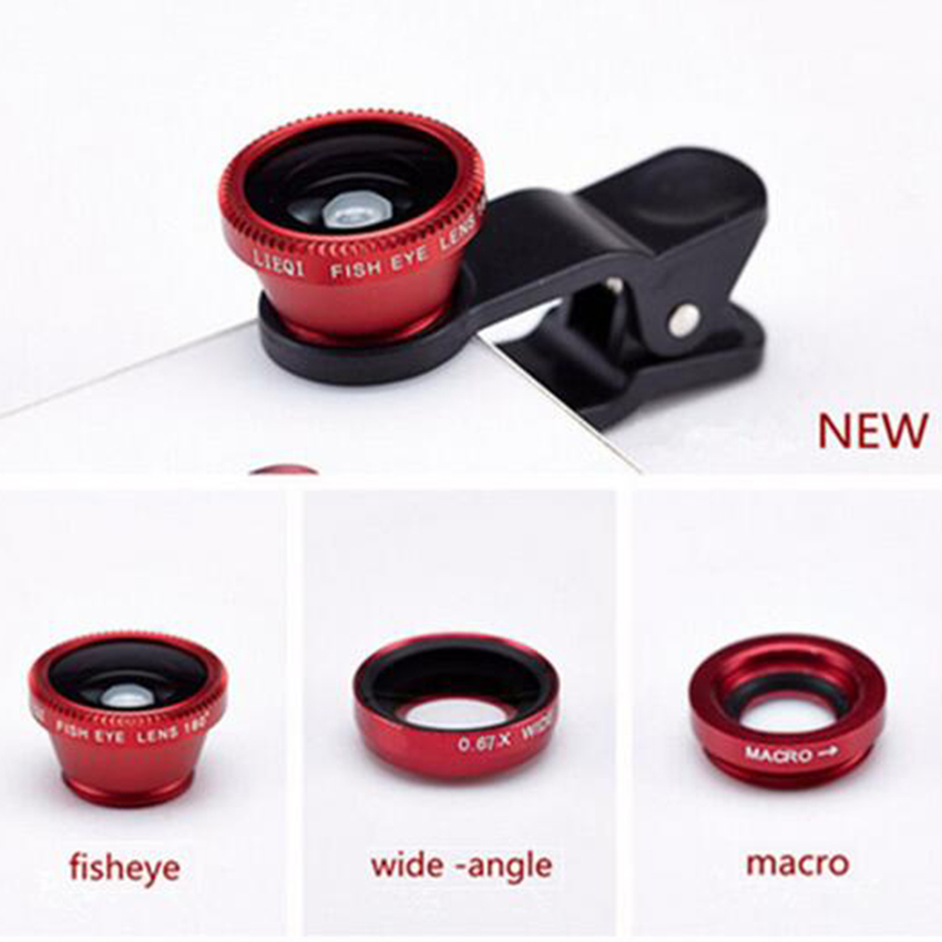 3 in 1 Fisheye Lens mobile phone lenses fish eye +wide angle +macro camera lens for iphone 7 6s plus 5s/5 xiaomi huawei samsung