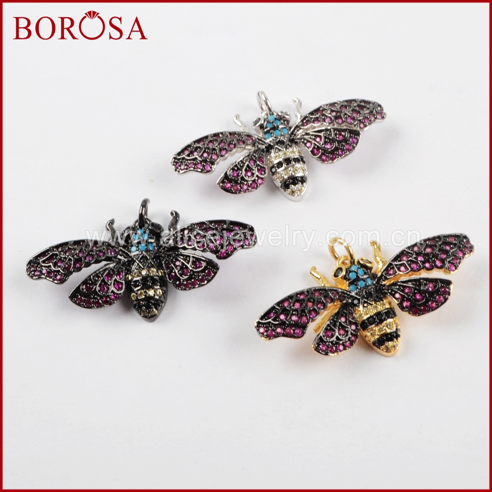 BOROSA 5PCS Mosquito Insects Bugs Bee Pendant Beads, Micro Pave CZ Beetles Small Charm Jewelry Mixed Colors Pendants WX838 ...