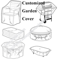 Customzied Made Outdoor Garden Cover Chair Barbecue Protection Black Fabric Dustproof UV Inhibited Waterproof Material
