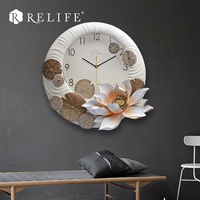 Wholesale Vintage Design Lotus Decorative Wall Clock Large Home Clock for Living Room