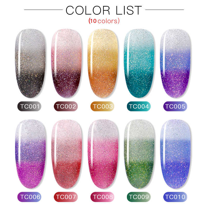 虹熱変色トップコートジェルネイルポリッシュグリッター温度ソークオフ UV ソークオフ 8 ミリリットルアート