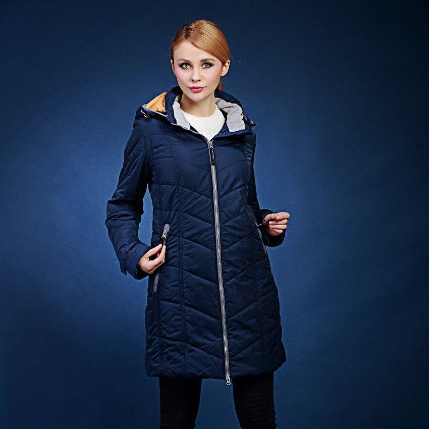 European winter jacket women solid color loose hooded long section blue cotton coat plus size 48