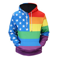 Mens American Flag Print 3D Hoodie Hooded Sweatshirt Tops Jacket Coat Outwear 2017 New Fashion