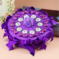 10pcs/lot Purple Bowknot Cake Shaped Wedding Candy Frosted Paper Box Gift Case Candy Kraft Box Gift Heart  Wedding Decoration