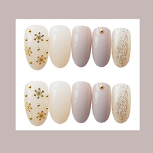 Beautiful golden nude color ins wind European and American bride Japan South Korea wear nail fake patch