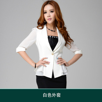 Spring and Autumn Women s suits fashion Slim ladies small jacket chiffon sleeves women suit formal clothing
