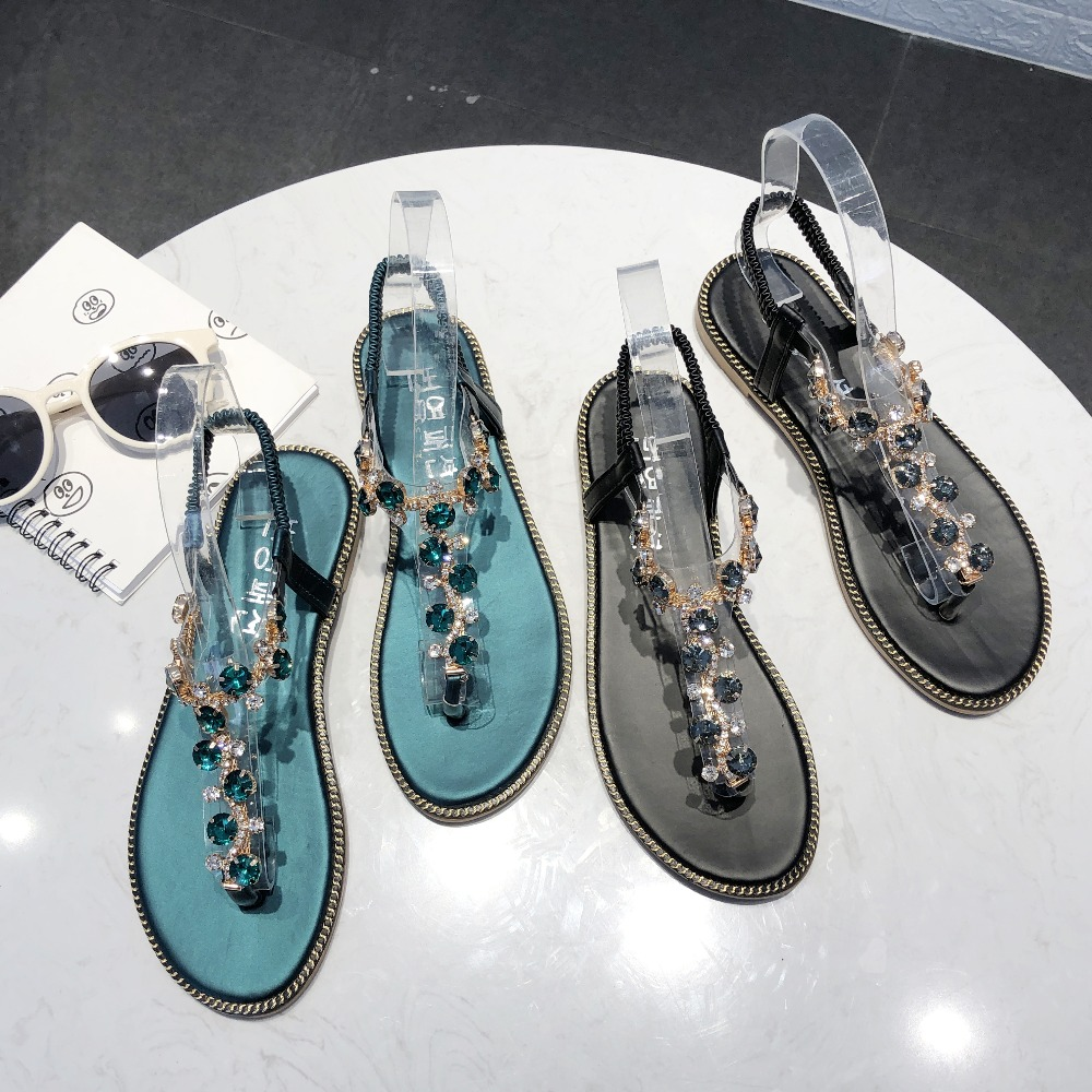 Rhinestone Sandals Women Sandals Fashion Summer Shoes Women Rome Gladiator Casual flats Sandals Beach Shoes Female Zapatos #730