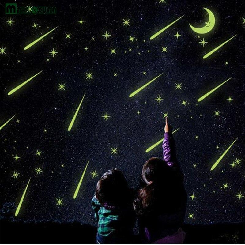 Maruoxuan Светящиеся Настенные Стикеры метеорный поток Луна обои дети Спальня винил Книги по искусству дома надписи флуоресцентные Стикеры