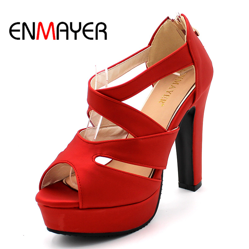ENMAYER PU Material Peep Toe Shoes Woman High Heels Zipper Pumps  Platform Party Casual Dress Summer Shoes 2018 Classic Sandals enmayer cross tied shoes woman summer pumps plus size 35 46 sexy party wedding shoes high heels peep toe womens pumps shoe