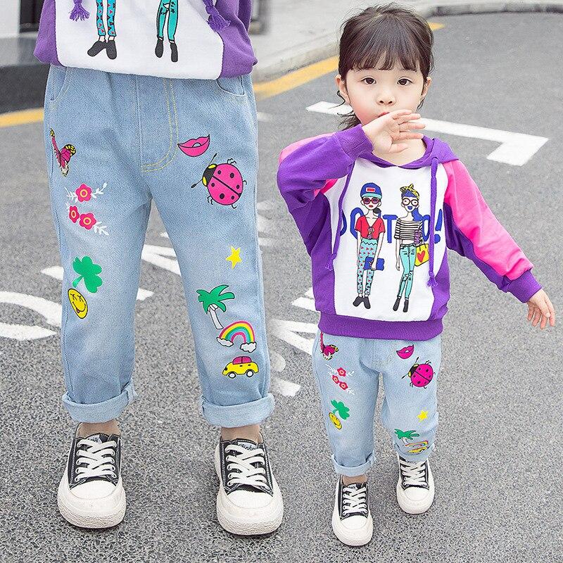 Jeans na moda para meninos e meninas primavera estilo calças crianças envelhecidas 3-7