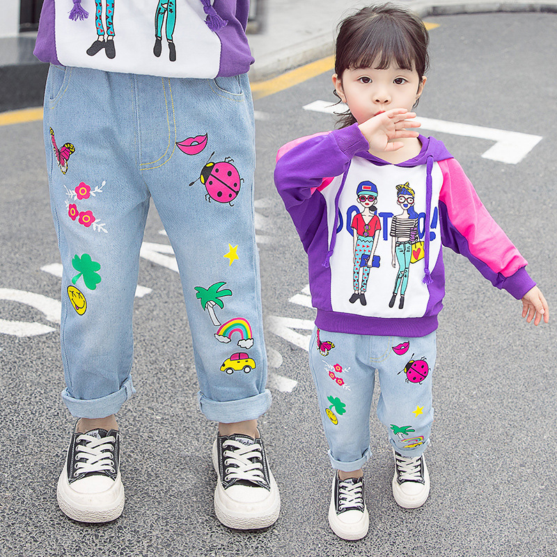 Trendy jeans for boys and girls Spring style trousers children aged 3-7 bts taehyung warriors