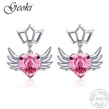 Geoki 925 Sterling Silver Pink Devil Fly Wing Heart Shaped Zircon Stud Earrings S925 Original CZ Crown Earrings Women Jewelry недорого