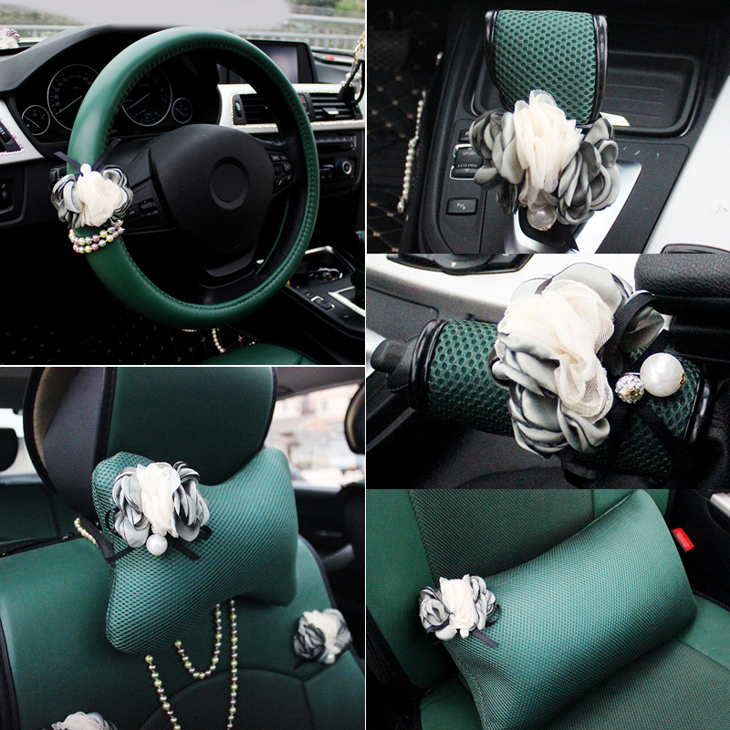 New Pear Flower Car Interior Accessories Steering Wheel Covers For Women Girls Auto Headrest