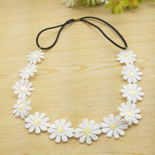 Fashion Flower Headband Girls Elastic Hair Band Women Accessories White Daisy Rims Head wear Chain Floral