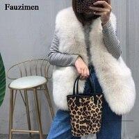 Plus size loose warm fox fur blends short winter coat fur vest women office work wear elegant fox fur gilet