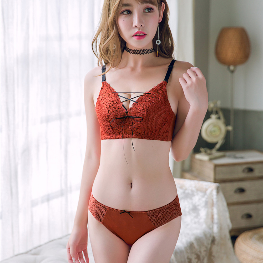 9fd02272402d Full lace belt sexy women fashion intimates push up brassiere with pad  panties underwear girls bras briefs set for young ladies-in Bra & Brief  Sets from ...