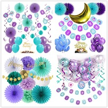 Oceanic Little Mermaid Birthday Party Decorations Under the Sea Swirl Decor Moon Garland Girl Greamlike New