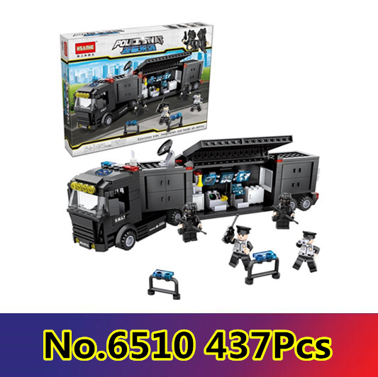CX 6510 437Pcs Model building kits Compatible with Lego City Police Station Swat Command Car Bricks figure toys for childre