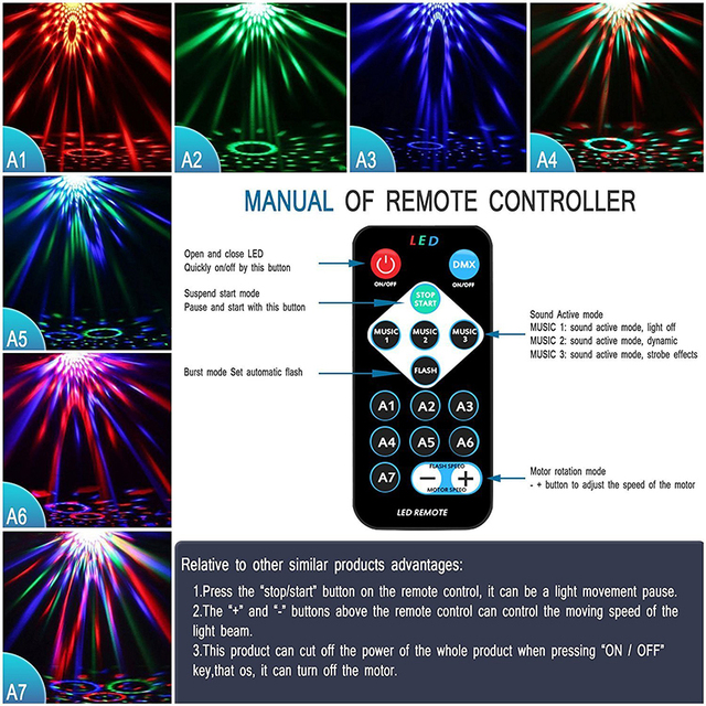 Sound Activated Rotating Disco Ball Party Lights Strobe Light 3W RGB LED Stage Lights For Christmas Home KTV Xmas Wedding Show 3
