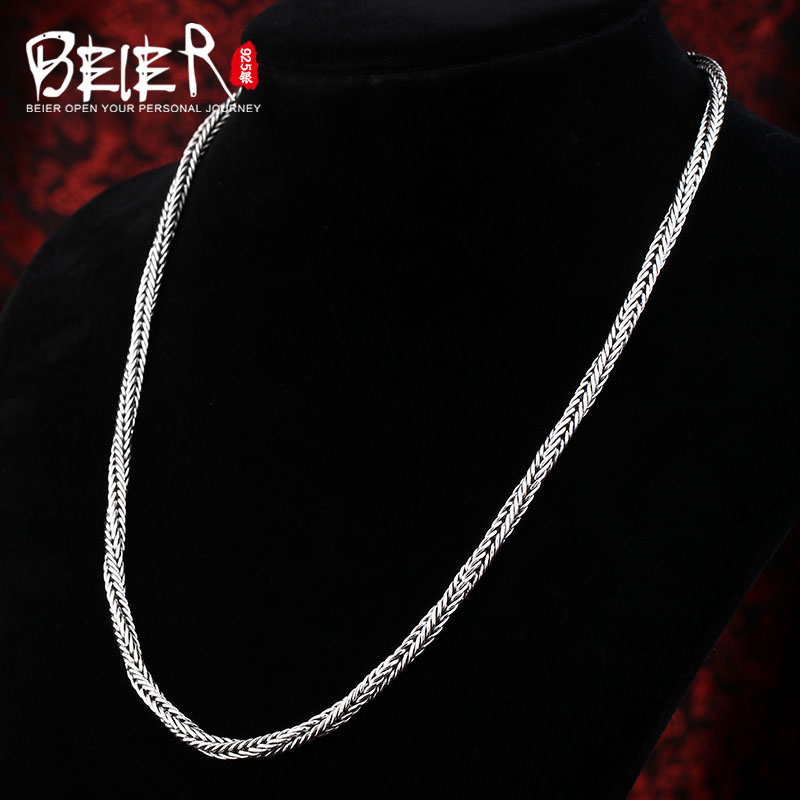 Beier new store 100% 925 silver sterling necklaces pendants trendy fine jewelry chains necklace for women/men  BR925XL037Beier new store 100% 925 silver sterling necklaces pendants trendy fine jewelry chains necklace for women/men  BR925XL037