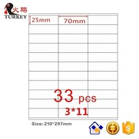 50 Sheets A4 Sticker 3x11 Laser Inkjet Printing Paper Label Paper 70 25mm Strong Glue Golden