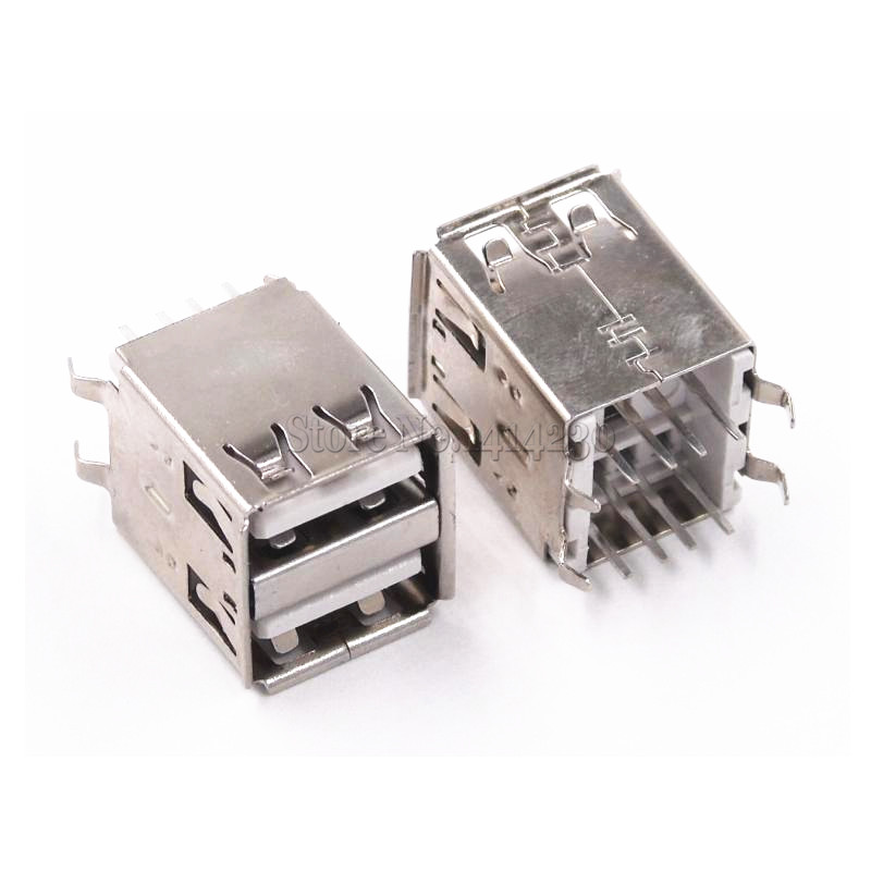 10Pcs Double USB Type A Female Solder Jacks Connector PCB Socket USB-A Type 180 Degrees Vertical 4pins
