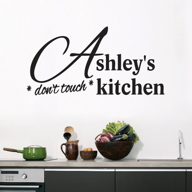 Custom Don T Touch Kitchen Wall Decals Removable Black Wall Stickers For Living Room Vinyl Art Decals Home Decoration Za089 In Wall Stickers From Home