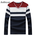 Anbican Fashion Men's V-neck T-shirt 2017 Spring Brand New Long Sleeve Cotton T shirt Men Casual Slim Fit Striped Tshirts M-5XL