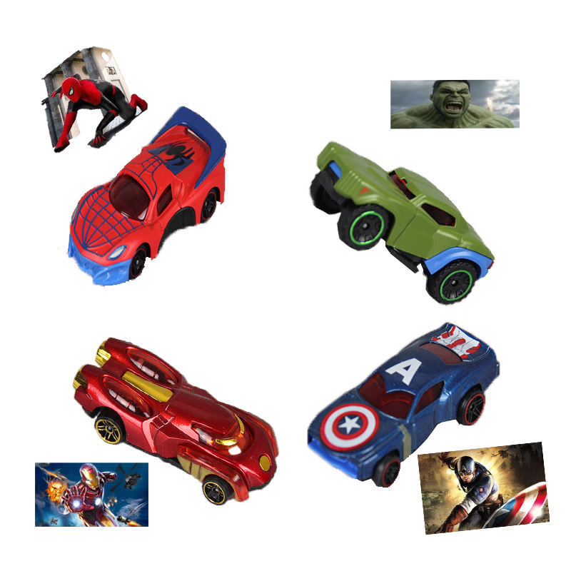 Childrens Birthday Gift Marvel Avenger  Anime Peripheral Superhero Alloy Car Spiderman Ironman Hulk Captain America Toy Car