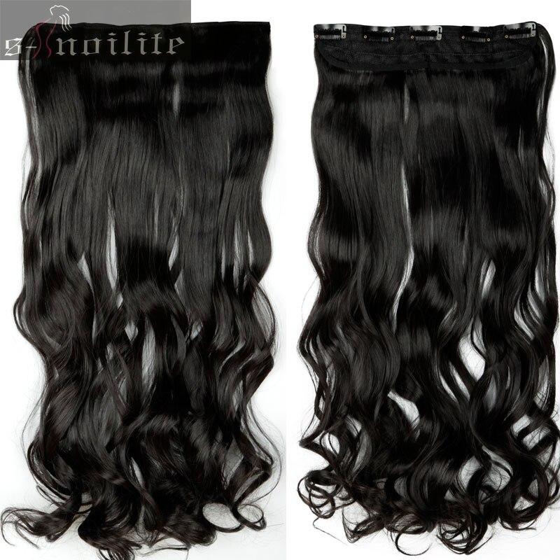 S-noilite, 18-28 дюймов, длинные волосы на заколках для наращивания, 1 шт., синтетические, настоящие натуральные волосы, 3/4, на всю голову, черный, коричневый - Цвет: # 1B