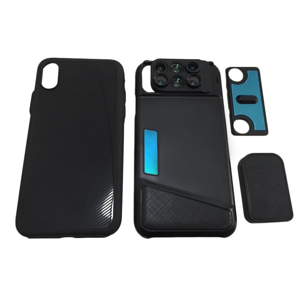 Portable Mobile Phone 6 in1 Dual Camera Lens Wide Angle Macro Lens Kit For iPhone X Multifunctional Telescope Fisheye Lentes