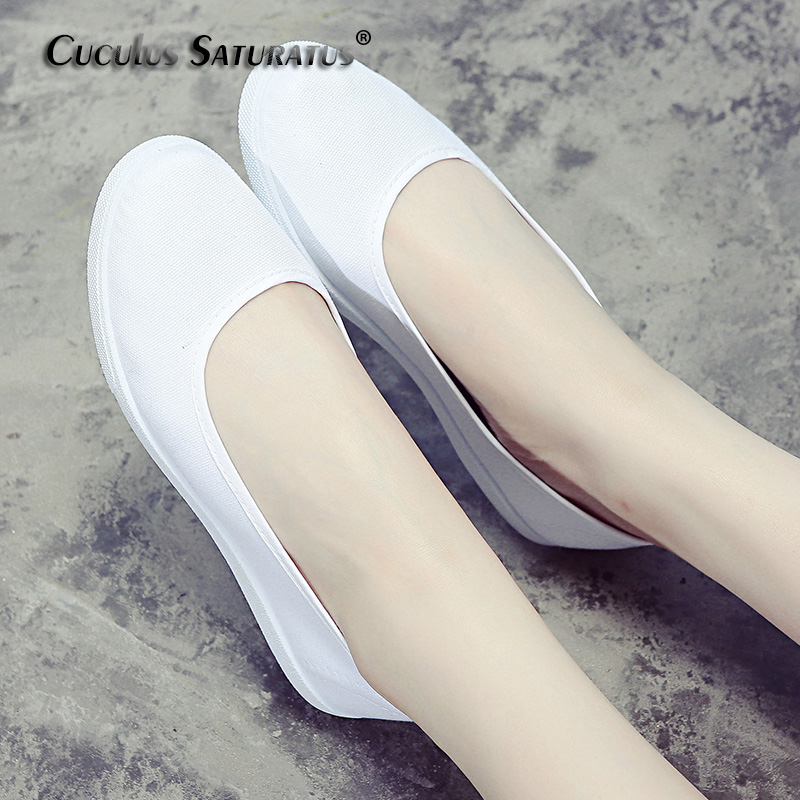Cuculus Fashion Women White Canvas Shoes Concise Low Top Casual Flat Student Shoes Lace Up Solid Canvas Women nurse Shoes 435 lin king women casual shoes leisure lace up wedge shoes fashion low top massage ankle shoes solid massage outdoor single shoes