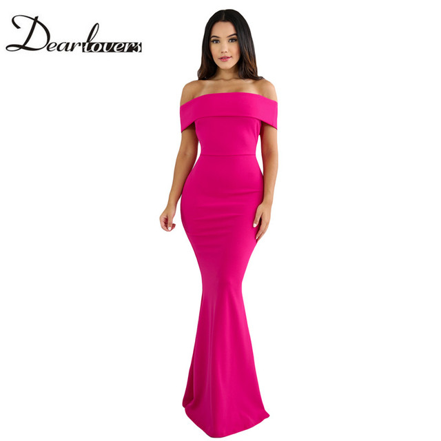 2d836becede5 Dear lover Sexy Women Elegant Mermaid Dress Ladies Rosy Foldover Off  Shoulder Slinky Long Party Dresses
