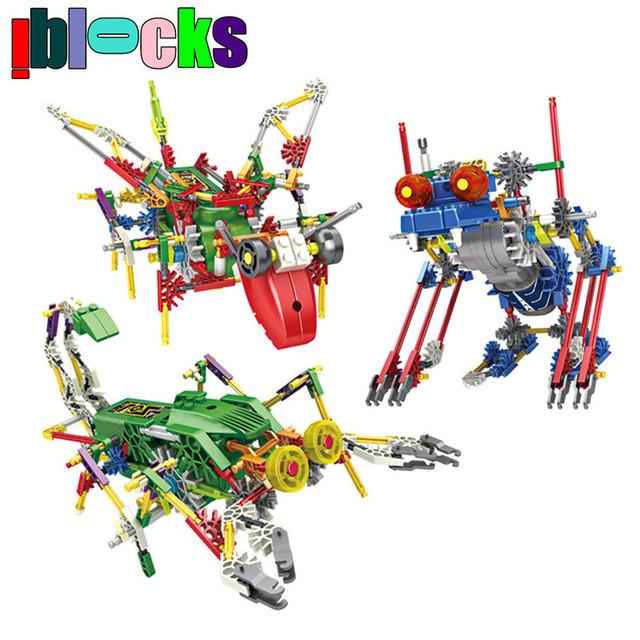 IBLOCKS Eléctrico Animal Robots Kits de Edificio Modelo Bloques Palillo Pasatiempos Educativos Assemblage Educativos Juguetes Para Niños