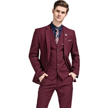 Mens Slim Fit Casual Suits Custom Business Tuxedos Men Wedding Formal 3 Piece Terno Masculino Jacket Vest Pant